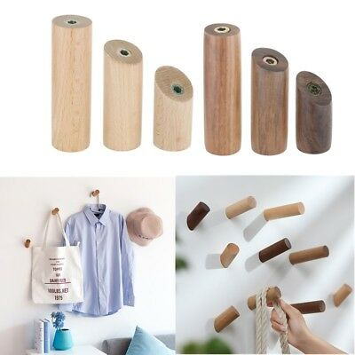 Natural Wooden Coat Hooks Wall Mounted Vintage Organizer Hangers Craft Hat Rack