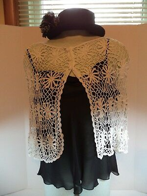"Mid Century Hand Crocheted Wrap/Capelet/Poncho/Shawl ""Say What?"" 100% Rayon"