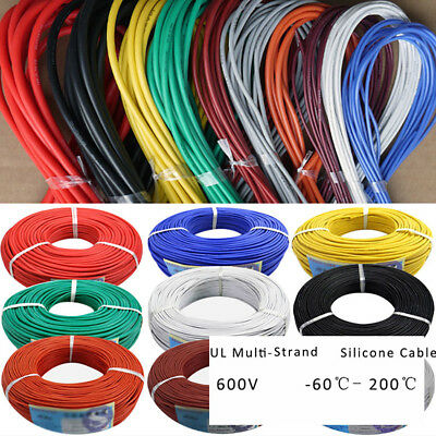 UL Multi-Strand Silicone Cable Flexible Wire 0.08mm 600V 200℃ 2/4/6/7/11-17awg