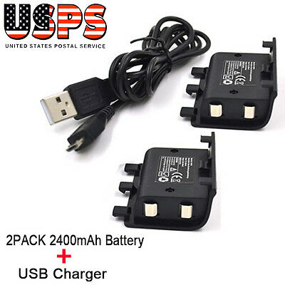 2x 2400mAh Rechargeable Battery Pack + USB Cable For Xbox One Play And Charger