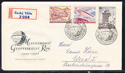 Czechoslovakia 1957 Geophysical Year R3054 First Day Cover to Tasmania