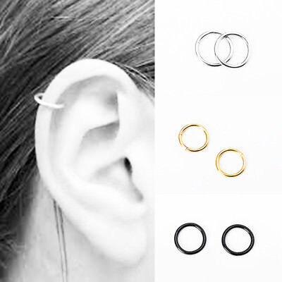 2PCS Stainless Steel Clip on Nose Lip Helix Tragus Ear Fake Piercing Hoop Ring