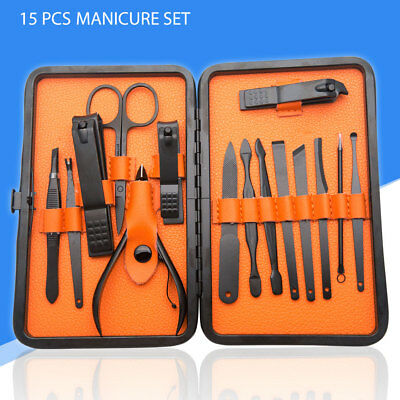 Luxury 15 Pcs Stainless Steel Manicure Set Pedicure Kit Nail Care Women Men Gift