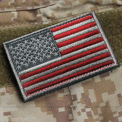 American Usa Flag Militray Tactical Gray Ops Red Swat Morale Hook Patch Badge