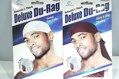 Shiny /& Silky Deluxe Du Rag Durag KT18 Set of 2 Brown /& Purple Smooth /& Thick