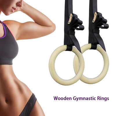 Wooden Gymnastic Olympic Rings Crossfit Gym Fitness Training Exercise AU STOCK