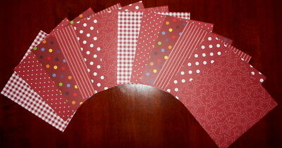"""Shades of RED/BROWN Scrapbooking Papers x 12 ~ 15cm x 15cm ~  (6"""" X 6"""")"""