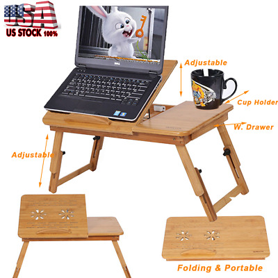 Portable Adjustable Folding Lap Desk Bamboo Laptop Notebook Bed Table Stand Tray
