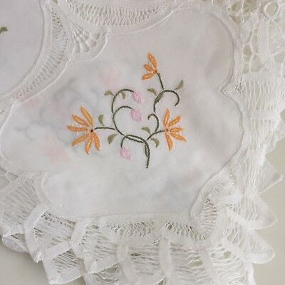 Large White TABLECLOTH Vintage Crochet Embroidered GORGEOUS Bright