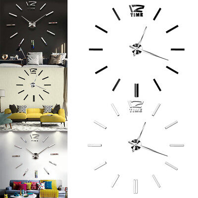 Art 3D DIY Large Number Mirror Clock Wall Sticker Home Office Rooms Decor Craft