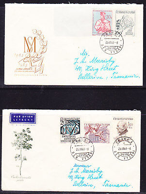 Czechoslovakia  1963 Cultural Anniversaries (2) First Day Cover to Tasmania