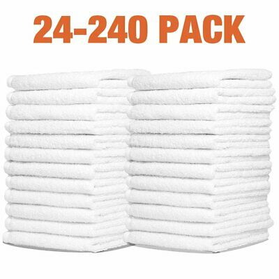 WHITE COTTON WASHCLOTHS DURABLE TOWELS HOTEL FACIAL BARBER SALON GYM 12X12