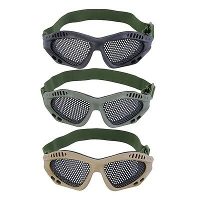 New Tactical Outdoor Steel Mesh Eyes Protective Goggles Glasses Eyewear BS