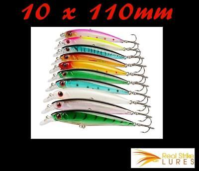10 lures 11cm Barra Trout Fishing Lure Salmon Tailor Cod Mulloway