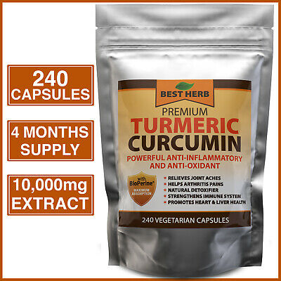 240 Turmeric Curcumin 95% BioPerine Black Pepper Pills Extra Strength #1 Tumeric