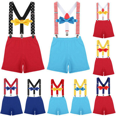 Boy Cake Smash Outfit Baby Bowtie Suspender Diaper Cover 1st Birthday Photo Set