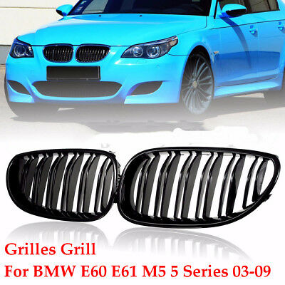 FOR 03-09 BMW E60 E61 5 Series M5 Front Kidney Grill Double Line Gloss 1 Pair UK