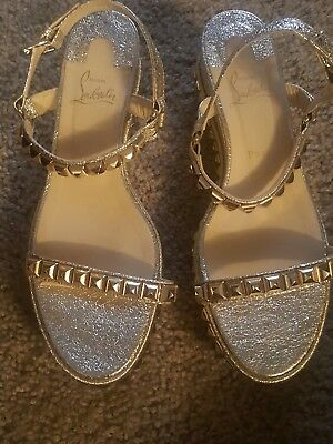 newest 6b800 4d9d1 CHRISTIAN LOUBOUTIN STUDDED Gold Cataclou Espadrille Wedge Sandal Size 41
