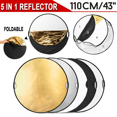 """43"""" 110cm Photography Studio Reflector 5-in-1 light Multi Collapsible Disc&Grip"""