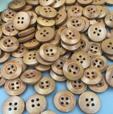 50PCS Wood Buttons Sewing 4 Holes Round Brown Dia Clothing Accessories 15mm