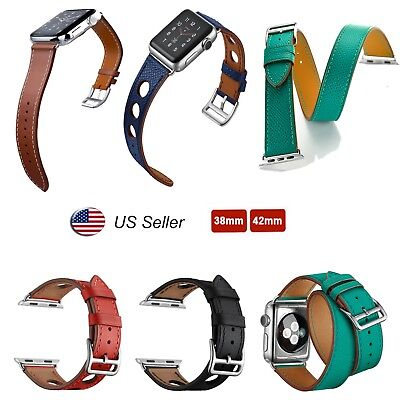 Genuine Leather Bracelet Strap Watch Band for Apple Watch 38mm 42mm iWatch 4321
