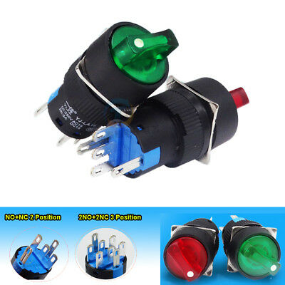 16mm LED Illuminated Latching Cam Rotary Switch 2&3 Position 12/24/220V RED/绿色