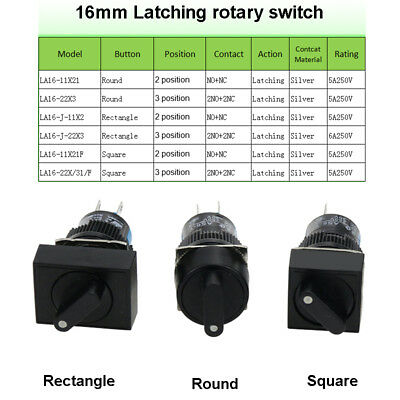 3 Shapes Latching Black Rotary Switch Cam Changeover 2/3 Position ,5A/250V 16mm