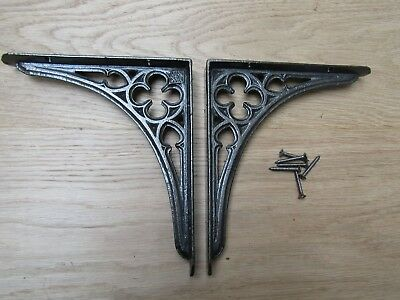 """PAIR OF 7"""" GOTHIC  cast iron rustic shelf Bracket wall Support books storage"""