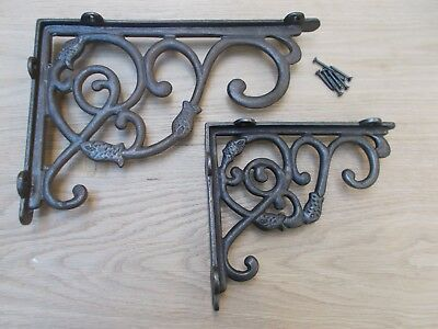 PAIR OF HEAVY DUTCH cast iron rustic shelf Bracket wall Support books storage