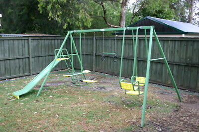 Hills Playtime Swing Set - 4 Bay - Green & Yellow - With Slide - Used