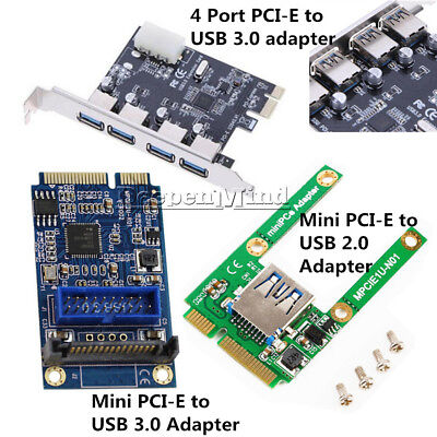4 Port PCI-E Mini Card Slot Express Expansion to USB 2.0/3.0 Adapter Riser Card