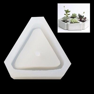 3D Triangle Flower Pot Silicone Mold Handmade Concrete for Succulent Plant Mould