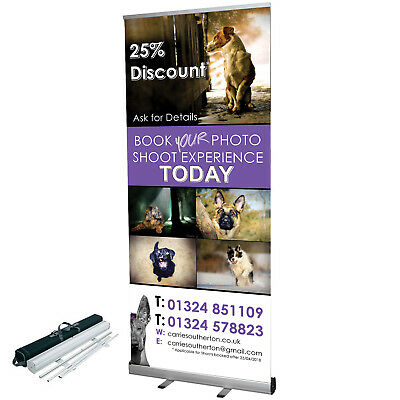Roller Banner Stands - 800mm x 2000mm - Stand + Free Design + Print + Carry Case