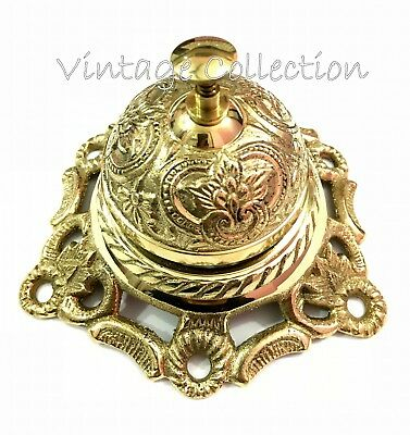 Antique Brass Reception Hotel Calling Service Bell Vintage Nautical Counter Bell