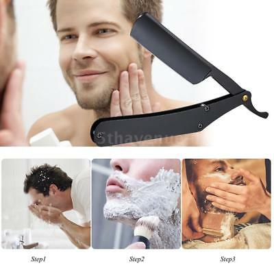 Barber Straight Edge Razor Folding Shaving Facial Hair Eyebrow Beard Shaver U9C1