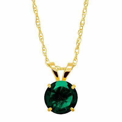 3/4 ct Created Emerald Round-Cut Solitaire Pendant in 10K Gold