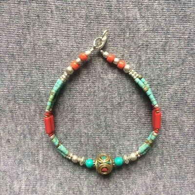 Nepalese Handmade Crafted White Metal Green Red Bead Bracelet Bangles Jewellery