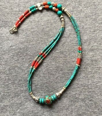 NL-15 Nepalese Handmade Ethnic Turquoise Coral Green Bead White Metal Necklace