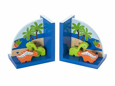 Mousehouse Blue Dinosaur Wooden Children's Bookends Boy's Nursery or Bedroom
