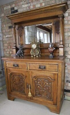 Antique Victorian Carved Bookcase/library Shelving/cabinet/cupboard - Keys