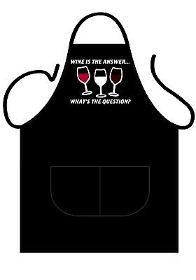 Black Novelty Apron, Wine Is The Answer, What's The Question?