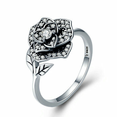925 Sterling Silver Retro Rose Flower Leaf Adjustable Ring For Women Jewelry