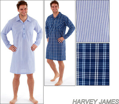Mens Night Shirt Traditional Stripe And Check Nightshirt Yarn Dyed Poly Cotton