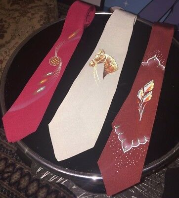 1940's Vintage American ties,hand painted and woven themes!