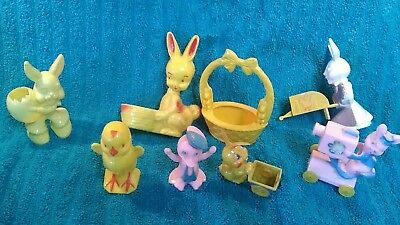 Plastic Easter Bunny 1950s Hard Candy Colored Plastic Lot. Chick Duck Bunny