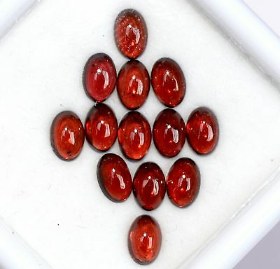 8.36 Cts Natural Garnet Oval Cabs 6x4 mm Lot 13 Pcs Red Shade Loose Gemstones