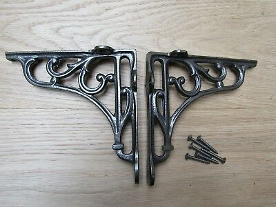 "6"" PAIR OF ANTIQUE IRON cast Victorian scroll ornate shelf support wall brackets"