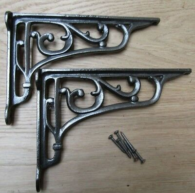 "9"" PAIR OF ANTIQUE IRON cast Victorian scroll ornate shelf support wall brackets"
