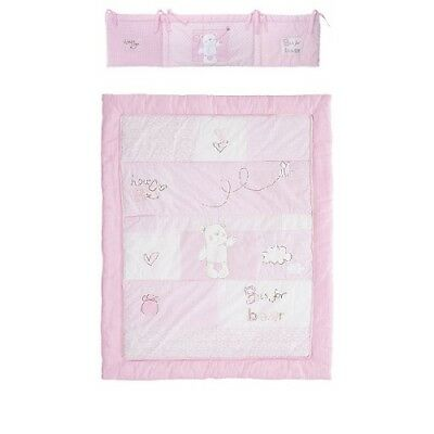 Obaby B is for Bear Cot Bed Bumper And Quilt Set Pink Cot And Cotbed  NEW