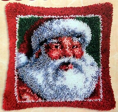 "Latch Hook Rug /pillow  Canvas Kit ""santa Fever"""